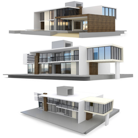 3d modern house collection on white background