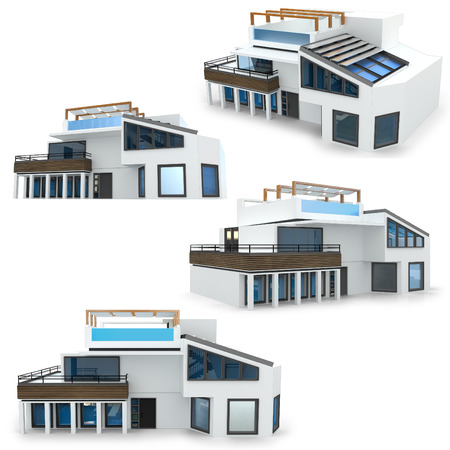 luxury house exterior: 3d modern house collection on white background