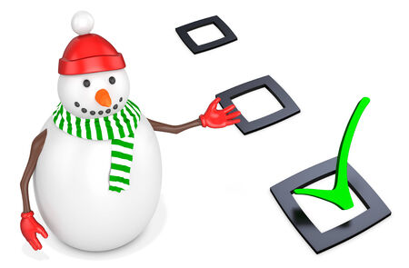 3d snowman with check mark  on white background photo