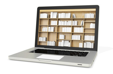 3d laptop with book shelves, digital internet library Stock Photo - 34382052