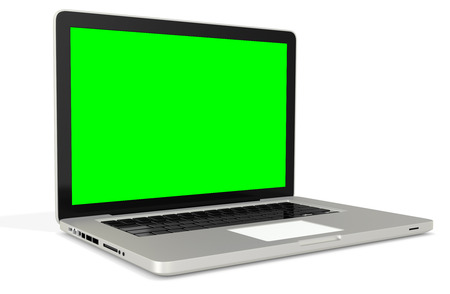 3d metal silver office notebook with green screen on white background photo