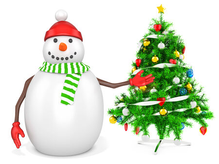 3d snowman with a christmas tree  on white background photo
