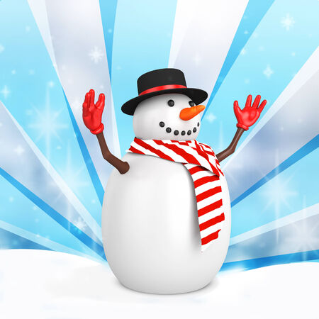 3d cute snowman with hat on winter snowflakes background photo