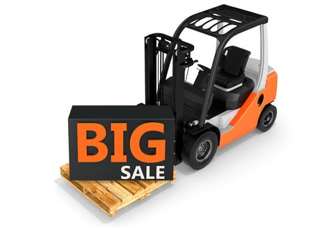 big sale: 3d forklift with big sale box on white background