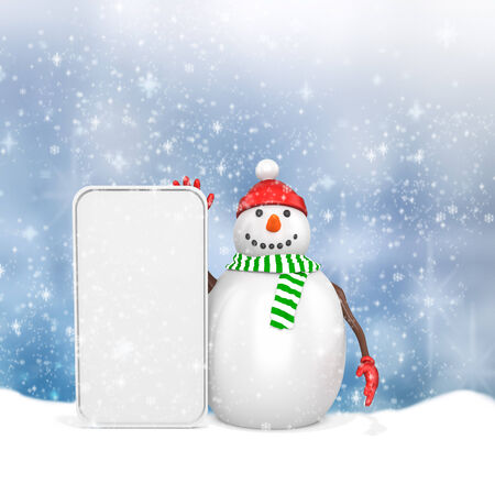 3d snowman with big blank banner  on winter snowflakes background photo