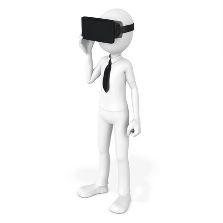 hallucinate: 3d man with virtual reality goggles on white background