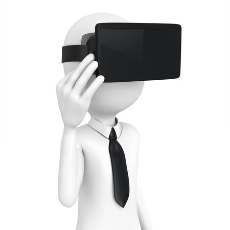 virtual reality: 3d man with virtual reality goggles on white background