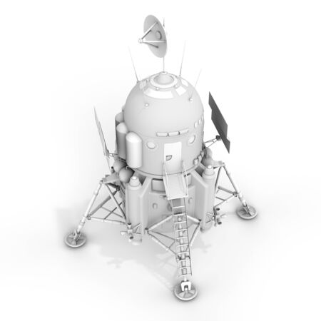 module: 3d detailed lunar landing module on white background