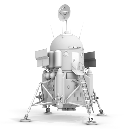 docking: 3d detailed lunar landing module on white background
