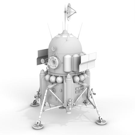 3d detailed lunar landing module on white background