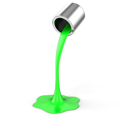 3d green paint pouring from bucket  on white background Standard-Bild