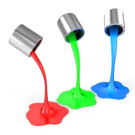 3d red, green, blue paint pouring from buckets on white background