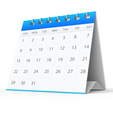 month 3d: 3d detailed desk calendar on white background