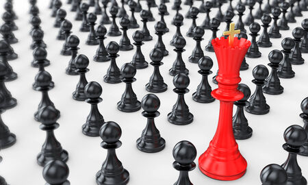 destroying the competition: 3d pawn army with red queen leading on white background