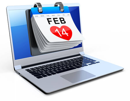 14 feb: 3d laptop with calendar showing valentines day on white background
