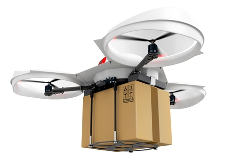 unmanned: 3d delivery drone with a package on white background Stock Photo