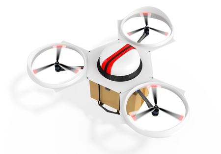 3d delivery drone with a package on white background photo