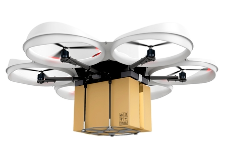 drone: 3d delivery drone with a package on white background Stock Photo