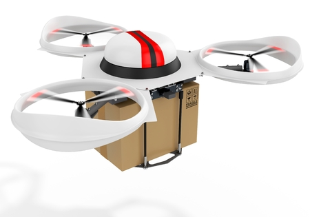 package sending: 3d delivery drone with a package on white background Stock Photo