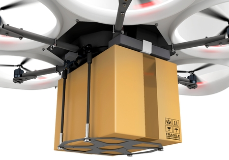 despatch: 3d delivery drone with a package on white background Stock Photo