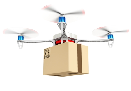 3d delivery drone with a package on white background Zdjęcie Seryjne
