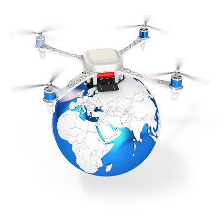 3d UAV drone with earth globe on white background photo