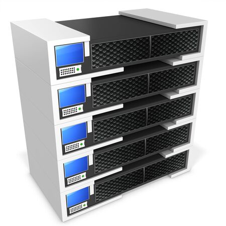 virtual server: 3d server blade units on white background