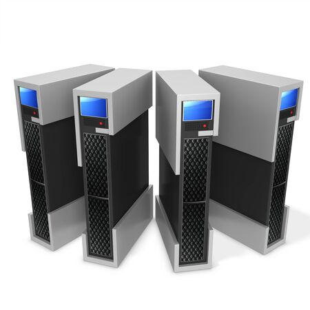 computer peripheral: 3d server blade units on white background
