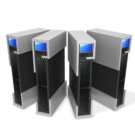 blade: 3d server blade units on white background