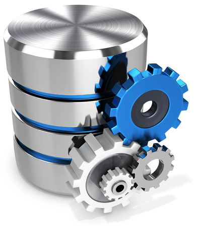 3d dimensional: 3d storage database symbol and gears on white background Stock Photo