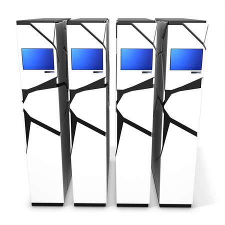 fileserver: 3d server blade units on white background