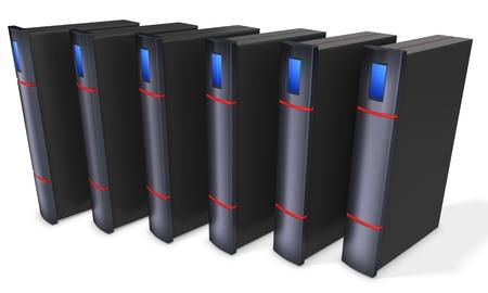 3d server blade units on white background