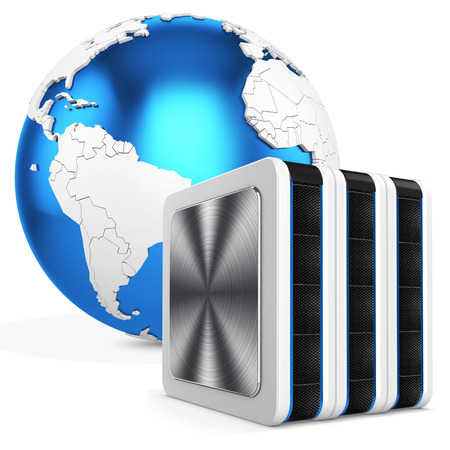 fileserver: 3d server blade units with earth globe on white background