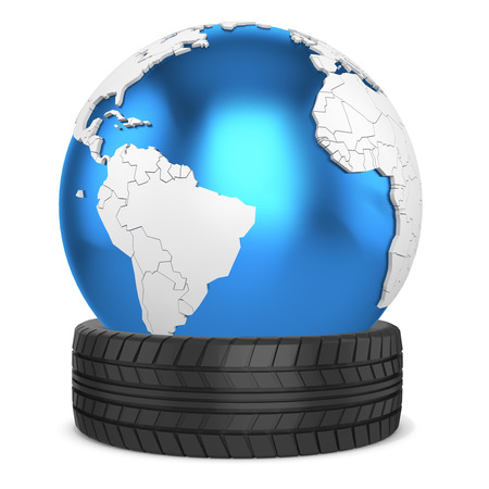 car tire: 3d car tire  with earth globe on white background