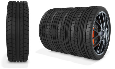 traction: 3d car wheels stack on white background Stock Photo