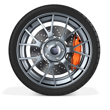 tire change: 3d detailed car wheel on white background