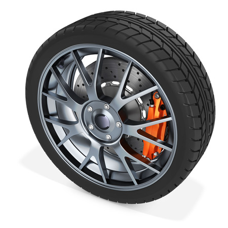 pneumatic: 3d detailed car wheel on white background