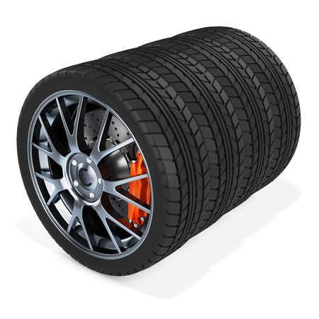 pneumatic tyres: 3d car wheels stack on white background Stock Photo