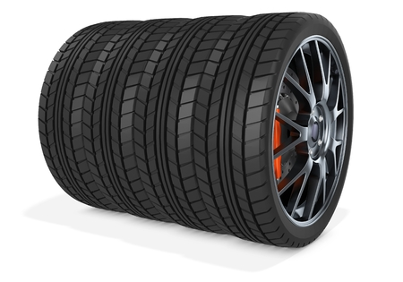 radial tire: 3d car wheels stack on white background Stock Photo