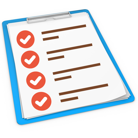 3d blue pad holder with check boxes on white background photo