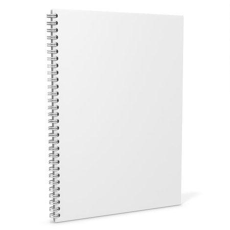 3d blank spiro notebook on white background Stok Fotoğraf