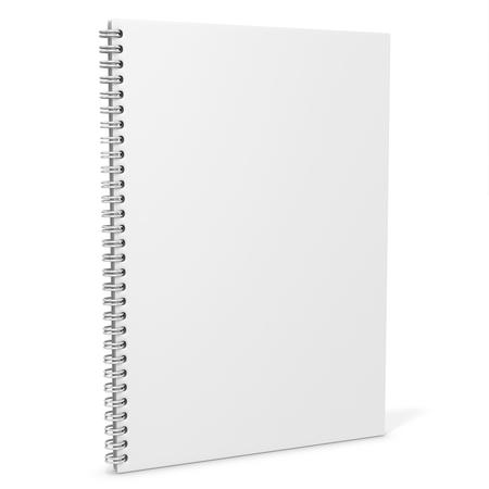 3d lege spiro notebook op een witte achtergrond