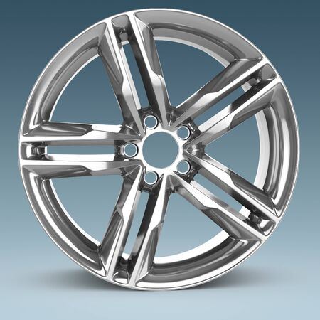 rim: 3d detailed wheel rim on blue background
