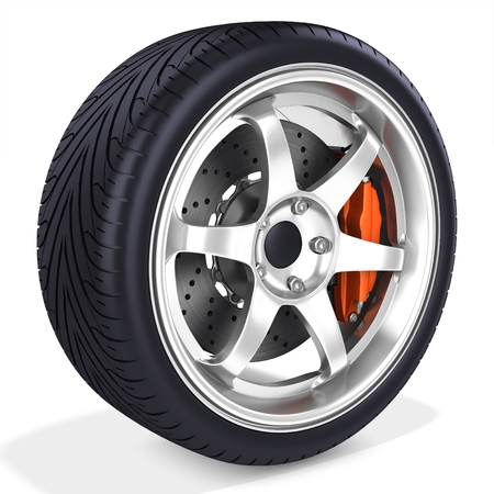 3d detailed car wheel with rim on white background photo