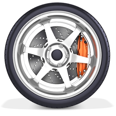 3d detailed car wheel with rim on white background