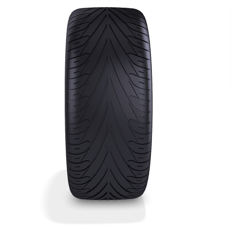 tire change: 3d car tire, wheel on white background