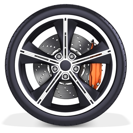 wheel rim: 3d detailed car wheel with rim on white background