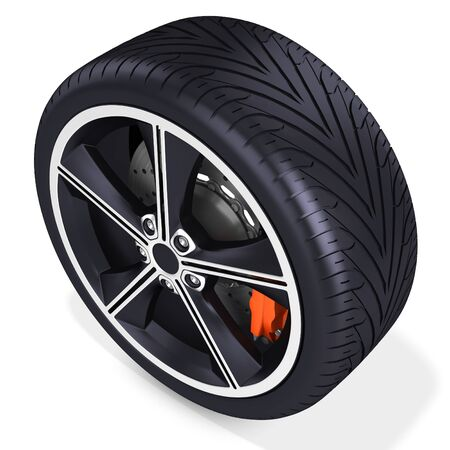 pneumatic: 3d detailed car wheel with rim on white background