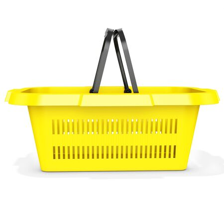 3d yellow empty shopping basket on white background photo