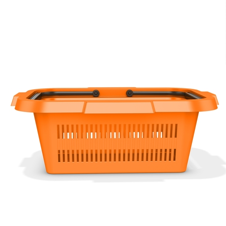 3d orange empty shopping basket on white background photo